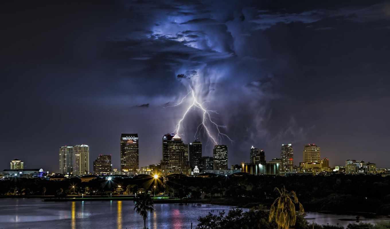 lightning, буря, со, tampa, ночь, тучи,