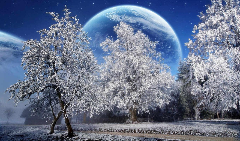 winter, снег, красивые, landscape,