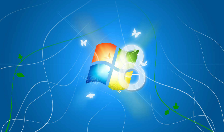 windows, windows 8, бабочки, лого