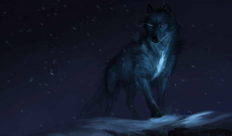 lobo, arte, fondos, pantalla, descargar, oscuridad, волк, fantasía, invierno, los,