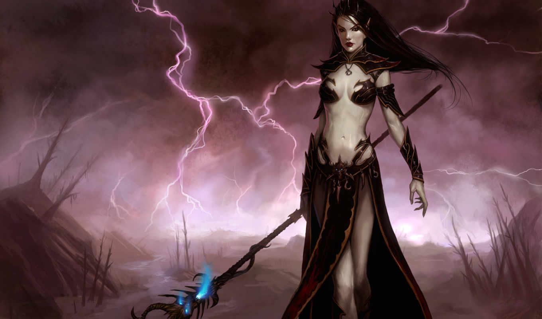 warhammer, online, эльф, hechiceras, age, девушка, reckoning, посох, молния, магия, hechicera,