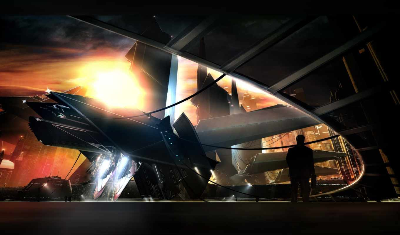 корабль, будущее, человек, город, espacial, будущего, фантастика, nave,