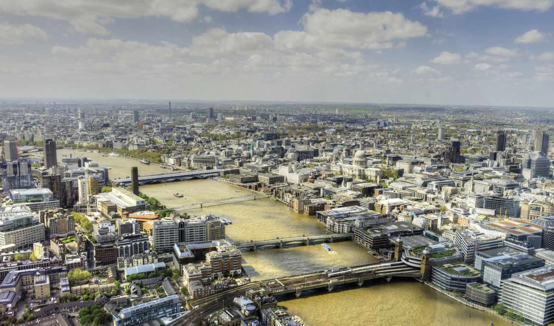 , лондон, река, день, мосты