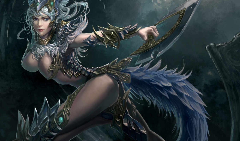 фэнтези, art, девушка, оружие, совершенно, девушки, tail, меч,