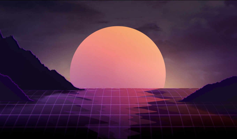 vaporwave, art, закат, desktop, волна, images,