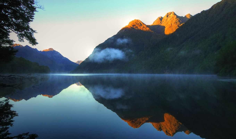 heinrich, stefan, озеро,горы,закат,