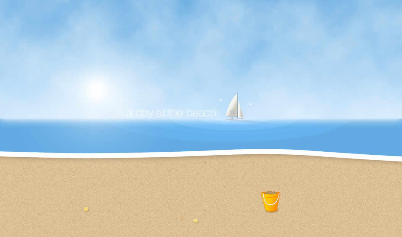 песок, пляж, солнце, парусник, день, пляже, волны, один, картинка,