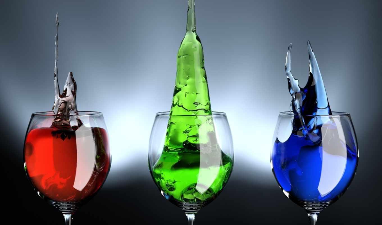 напитки, бокалы, цветные, blue, liquids, green, red, morning, графика, химические,