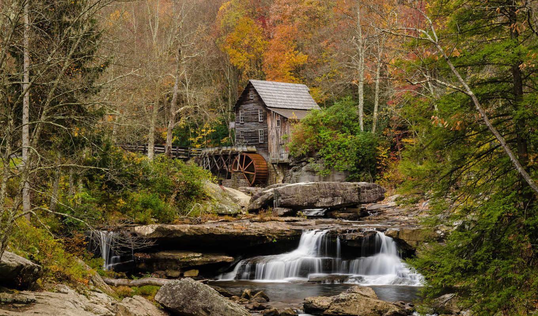 река, лес, природа, потоки, мельница, каскад, осень, водяная,