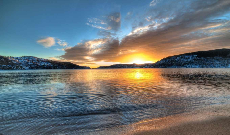 норвегия, горы, озеро, закат,