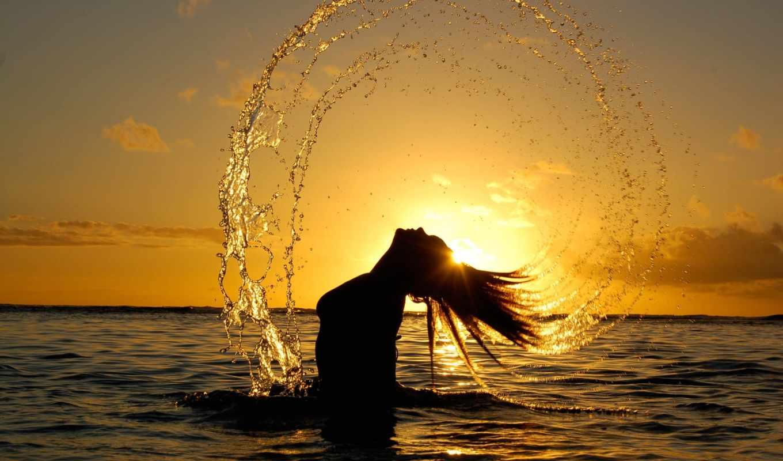 девушка, море, закат, water, девушки, sun,