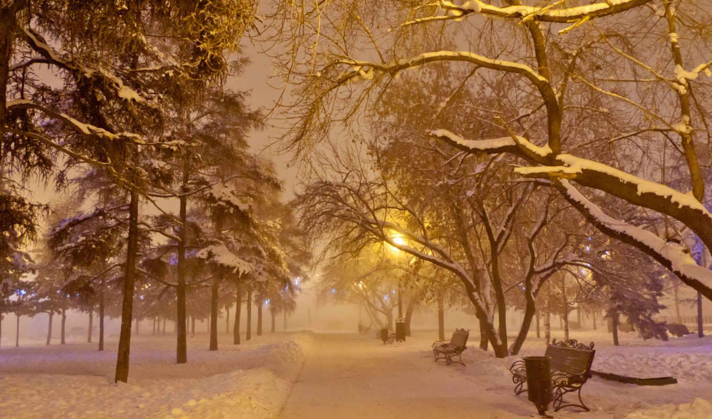снег, lantern, скамейка, иней, год, ночь, mist, new, square, аллея, garland,