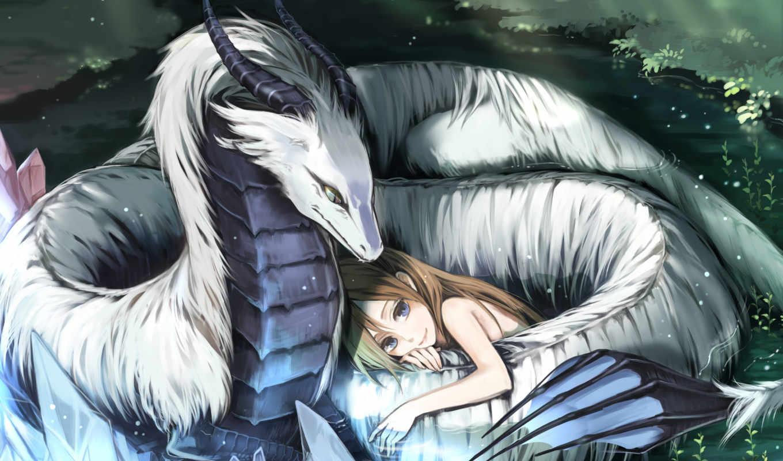 дракон, white, anime, красивый, love, девушка, защита,