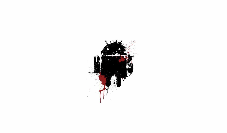 android, лого, кровь, выстрелы, брызги, осколки