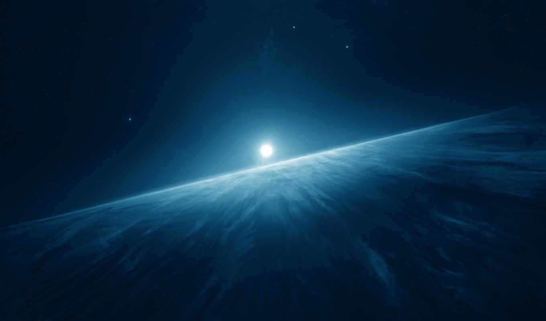 луна, горизонт, universe, sci, blue, космос,