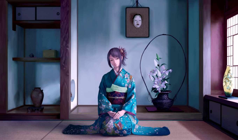 anime, кимоно, девушка, art, you, снимаешь, lofi, музыка, фон,