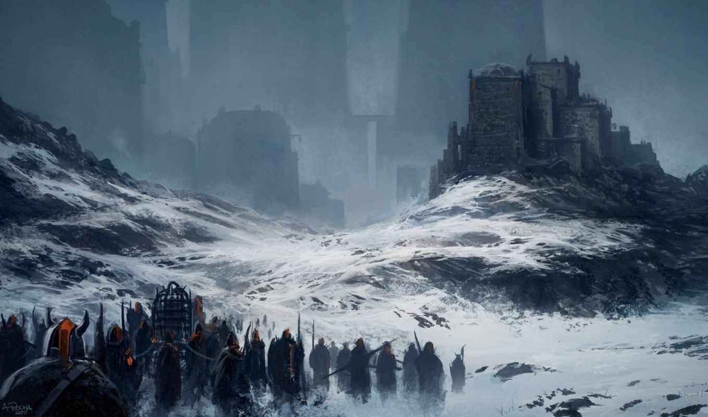 снег, войны, арт, город, горы, картинка, картинку,