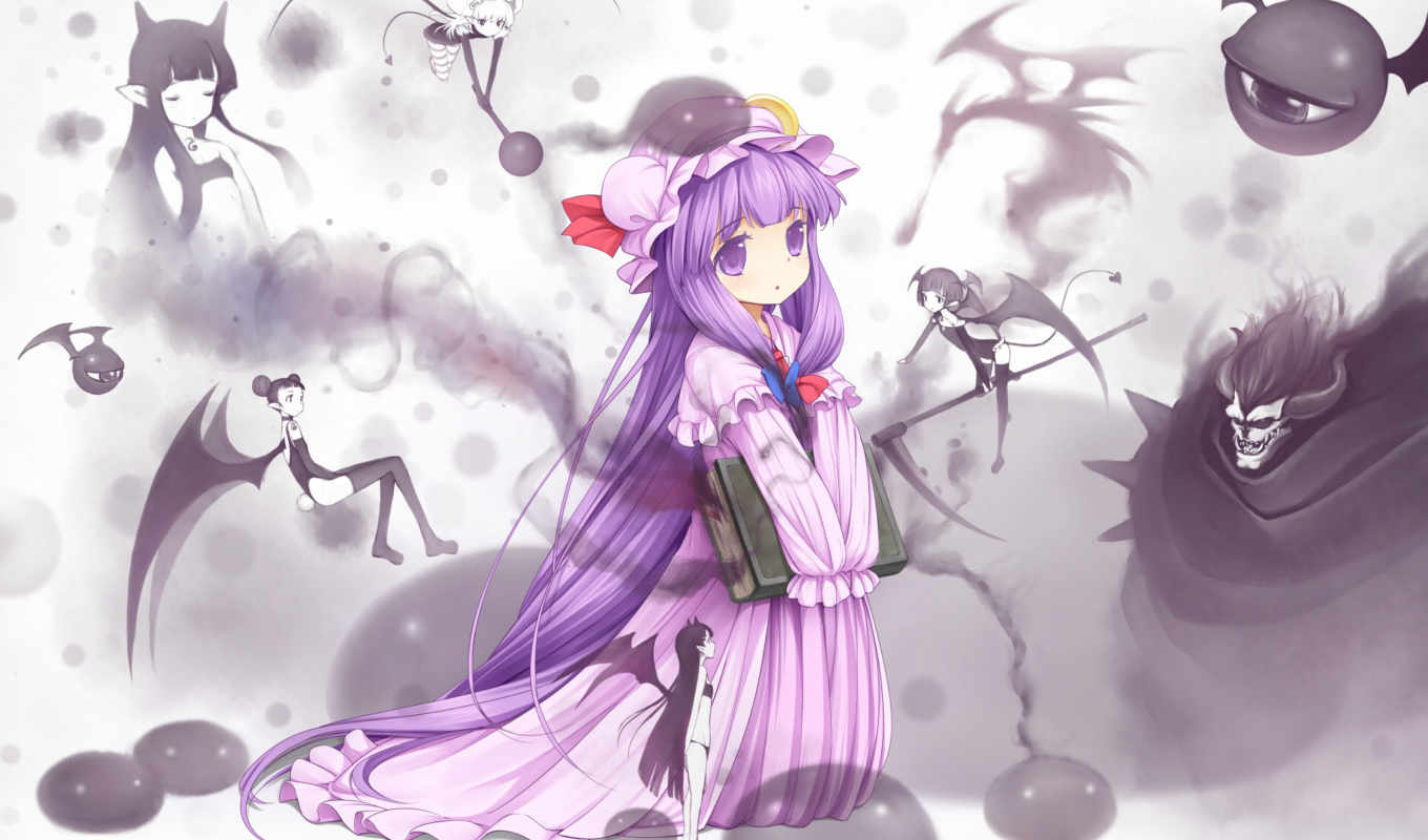 knowledge, patchouli, touhou, hair, purple, anime, long, eyes, dragon, книга, девушка, similar, artist, with, wings,