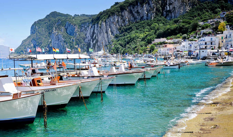 italy, capri, sea, boat, island, капри, берег, beach, desktop,