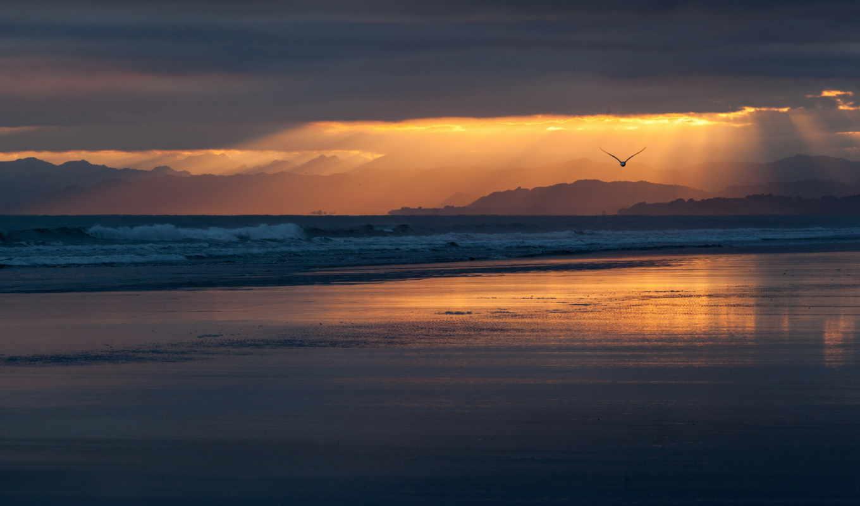 природа, закат, пляж, берег, небо, тучи, море, побережье, силуэт, облака,