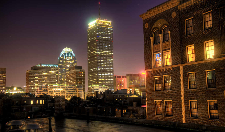 boston, ночь, usa, окна, город,