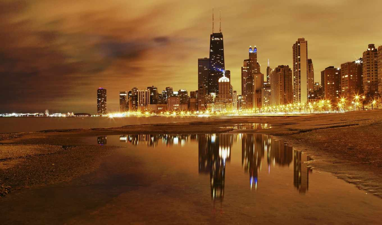 chicago, город, небоскребы, america, ночь, usa, travel,