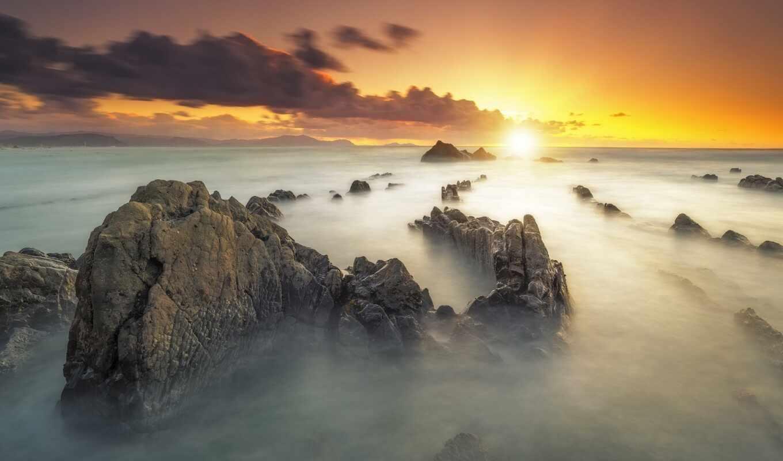 гора, закат, небо, оранжевый, скалистый, zakat, copyright, горизонт, озеро, pea, pole