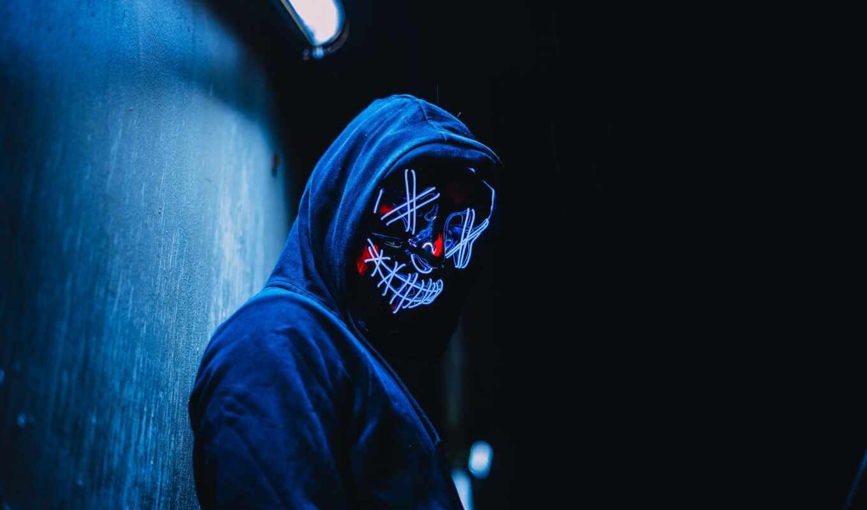 маска, ipad, human, аноним, ночь, neon, судный, создать, свечение, капюшон, мини
