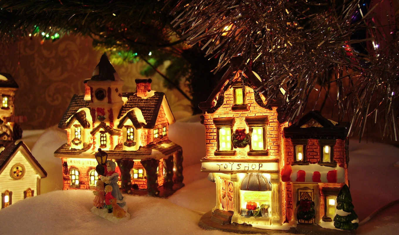 домики, игрушки, christmas, декорация, снег, под, ёлкой, decorations, год, ìø, with, images, огни, картинка, двенадцать, гирлянда, секунд,