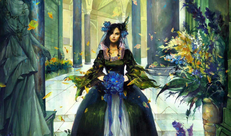 девушка, рисунок, лепестки, цветы, листья, бант, best, fantasy,