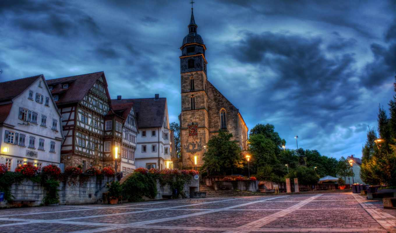 boeblingen, germany, площадь, дома, здания, костёл, цветы, картинка,
