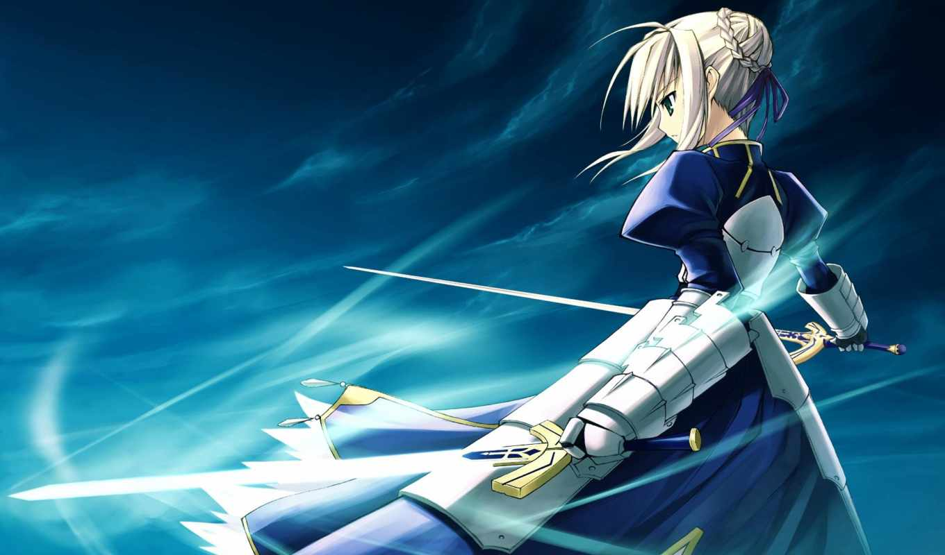 fate, stay, night, anime, рисованное, saber,