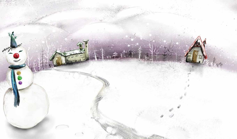 winter, christmas, background, snowman, fantasy, resolution, year, painted, new, дек, новогоднее, два, домика, настроение, free, snowy, xmas, vector, gifts, hand, desktop, infront, merry, cartoon, ima