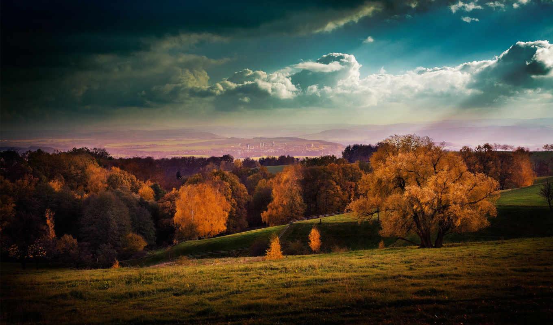 осень, небо, город, картинка, burning, осеннею, порою,