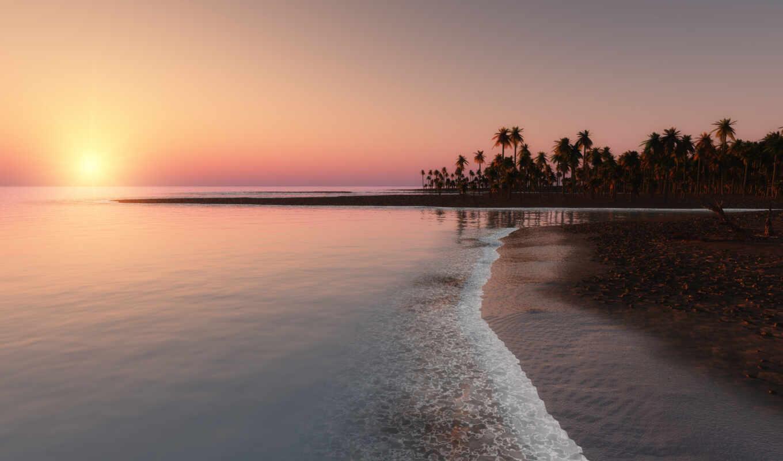 закат, ocean, пальмы, tropical, побережье,