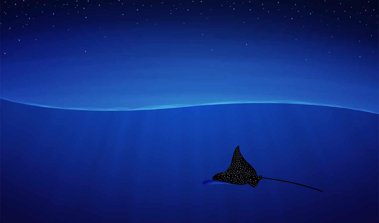 скат, голубой фон, волны,