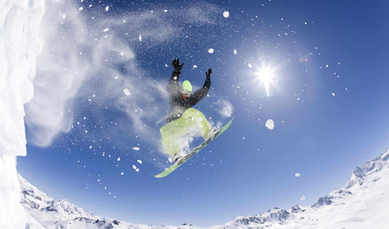 fisheye, сноуборд, прыжок, free,