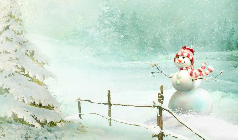 снег, снегопад, снеговик, шарфик, winter, улыбка, елка, лес,