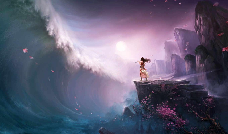 девушка, волна, цунами, скалы, флейта, water, арт, дерево, element, fantasy, лепестки, за, user, anime, ты, gothic,