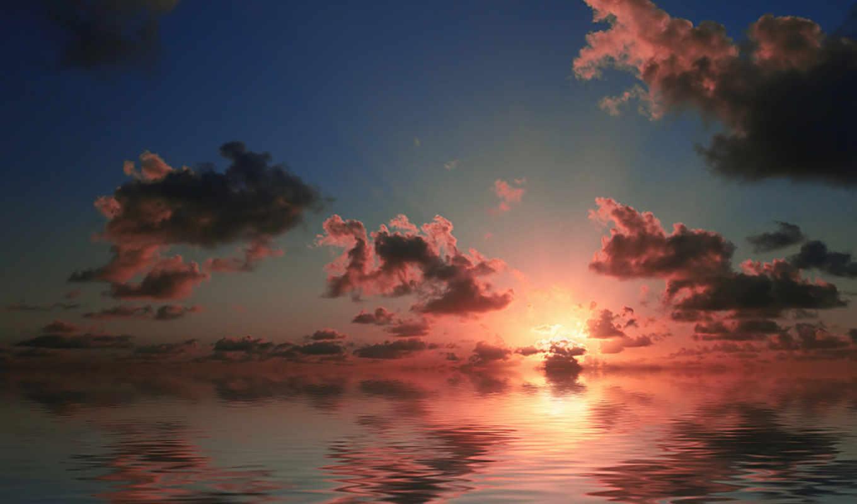 облака, восходы, закаты, море, небо, красное, солнце,