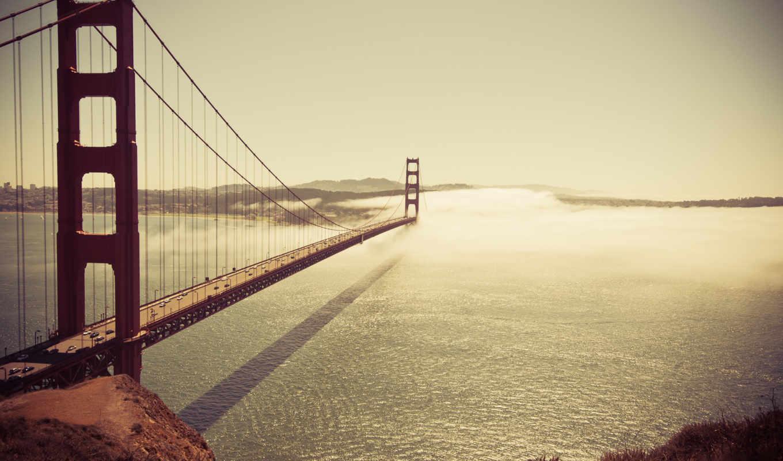 bridge, небо, fog, картинка, залив, картинку, франциско, сан, океан, море, страны,