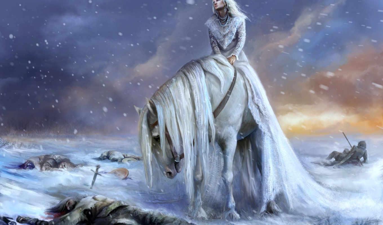 снежная, queen, лошади, рисунок,