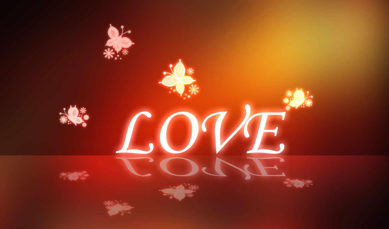 love, бабочки, сердечки, красный, экран,