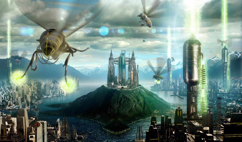 фантастические, качестве, монитора, robot, bee, invasion,