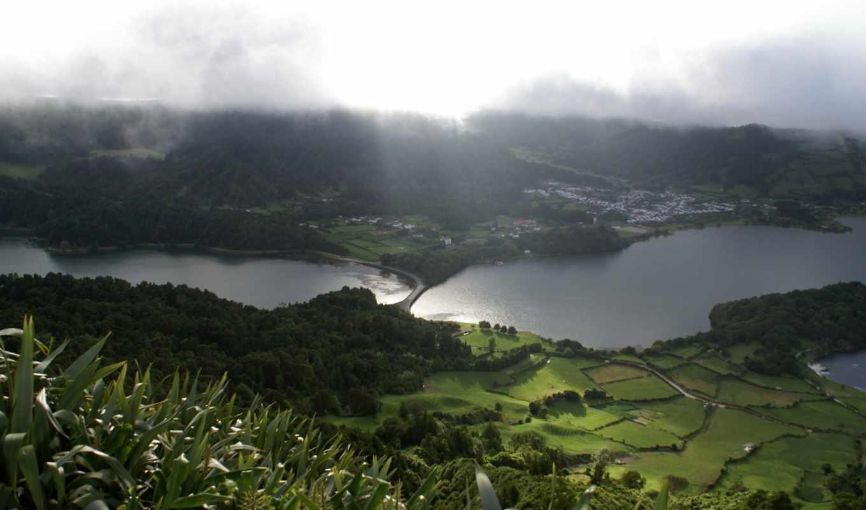 природа, пейзаж, зелень, поля, луга, озера, туман, картинка, картинку,