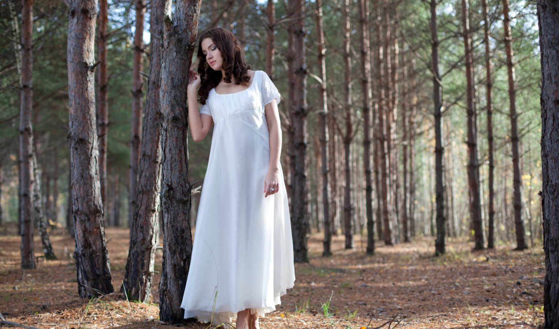 лес, девушка, сосны,шатенка,