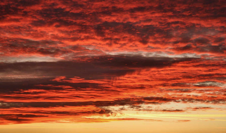 облака, красные, небо, red, free, заходящего, солнца,