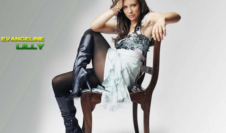 lilly, evangeline, сапоги, девушка, платье, взгляд, ножки, стул, картинку,