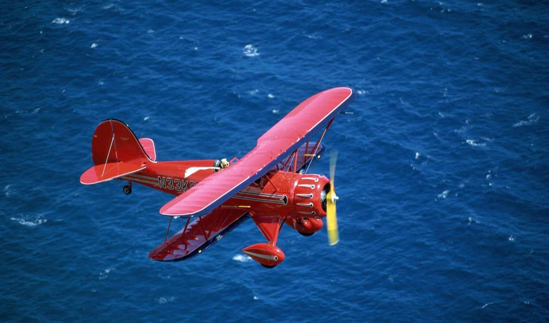 красный, море, биплан, zoom, картинку, картинка, смотрите,