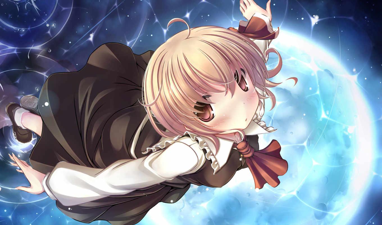 touhou, hair, anime, kaisu, rumia, dress, eyes, brown, short,